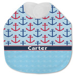 Anchors & Waves Jersey Knit Baby Bib w/ Name or Text