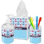 Anchors & Waves Acrylic Bathroom Accessories Set w/ Name or Text