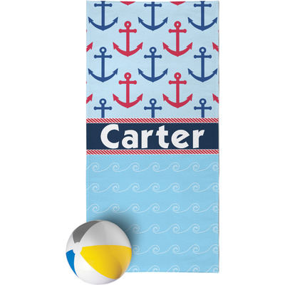 Anchors & Waves Beach Towel (Personalized)