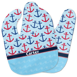 Anchors & Waves Baby Bib w/ Name or Text
