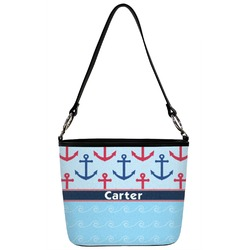 Anchors & Waves Bucket Bag w/ Genuine Leather Trim (Personalized)