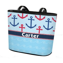 Anchors & Waves Bucket Tote w/ Genuine Leather Trim (Personalized)
