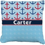 Anchors & Waves Faux-Linen Throw Pillow (Personalized)