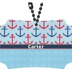 Anchors & Waves Rear View Mirror Ornament (Personalized)