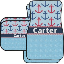 Anchors & Waves Car Floor Mats Set - 2 Front & 2 Back (Personalized)