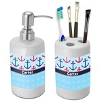 Anchors & Waves Bathroom Accessories Set (Ceramic) (Personalized)