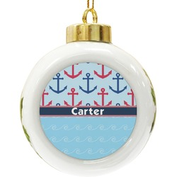 Anchors & Waves Ceramic Ball Ornament (Personalized)
