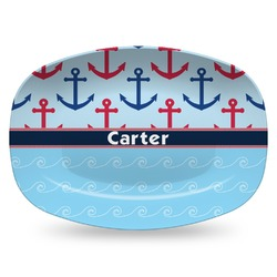 Anchors & Waves Plastic Platter - Microwave & Oven Safe Composite Polymer (Personalized)