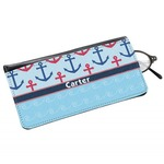 Anchors & Waves Genuine Leather Eyeglass Case (Personalized)