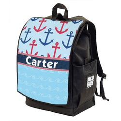 Anchors & Waves Backpack w/ Front Flap  (Personalized)