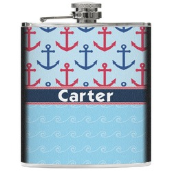 Anchors & Waves Genuine Leather Flask (Personalized)