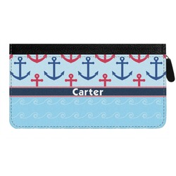 Anchors & Waves Genuine Leather Ladies Zippered Wallet (Personalized)