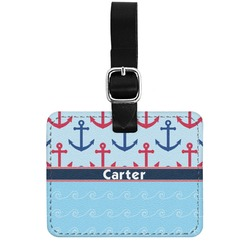 Anchors & Waves Genuine Leather Rectangular  Luggage Tag (Personalized)