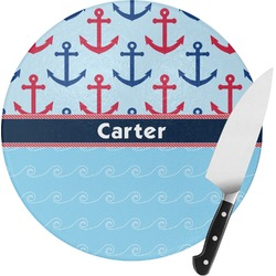 Anchors & Waves Round Glass Cutting Board (Personalized)