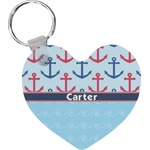 Anchors & Waves Heart Keychain (Personalized)