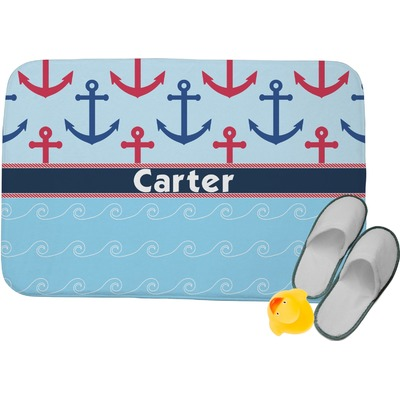 "Anchors & Waves Memory Foam Bath Mat - 24""x17"" (Personalized)"