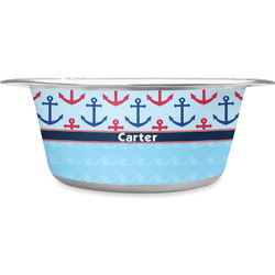 Anchors & Waves Stainless Steel Dog Bowl (Personalized)