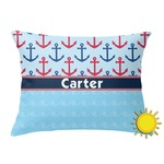 Anchors & Waves Outdoor Throw Pillow (Rectangular) (Personalized)