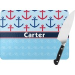 Anchors & Waves Rectangular Glass Cutting Board (Personalized)
