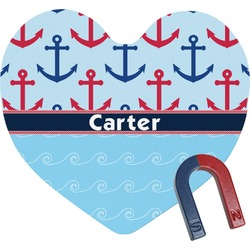 Anchors & Waves Heart Fridge Magnet (Personalized)