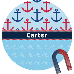 Anchors & Waves Round Magnet (Personalized)