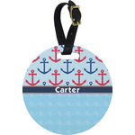 Anchors & Waves Round Luggage Tag (Personalized)