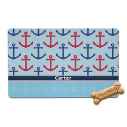 Anchors & Waves Pet Bowl Mat (Personalized)