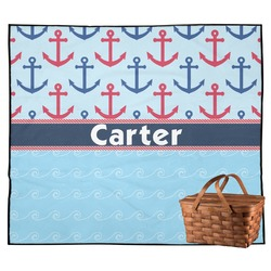 Anchors & Waves Outdoor Picnic Blanket (Personalized)
