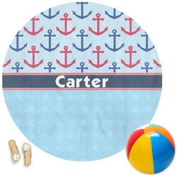 Anchors & Waves Round Beach Towel (Personalized)