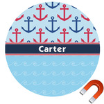Anchors & Waves Round Car Magnet (Personalized)
