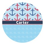Anchors & Waves Round Decal (Personalized)