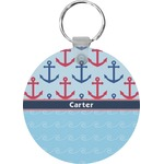 Anchors & Waves Round Keychain (Personalized)