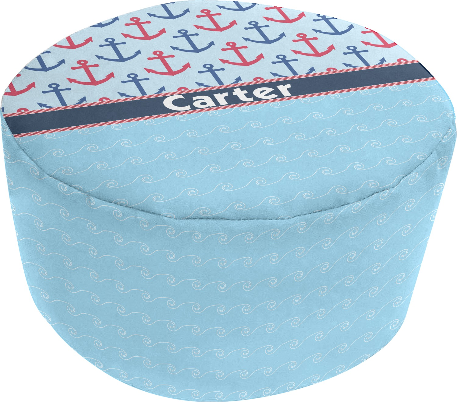 Anchors Amp Waves Round Pouf Ottoman Personalized