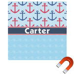 Anchors & Waves Square Car Magnet (Personalized)
