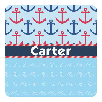 Anchors & Waves Square Decal (Personalized)