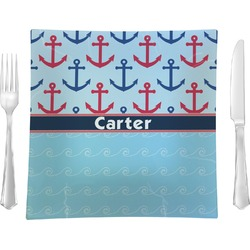 """Anchors & Waves Glass Square Lunch / Dinner Plate 9.5"""" - Single or Set of 4 (Personalized)"""