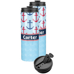 Anchors & Waves Stainless Steel Skinny Tumbler (Personalized)