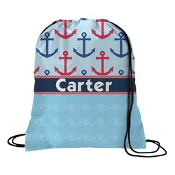 Anchors & Waves Drawstring Backpack (Personalized)