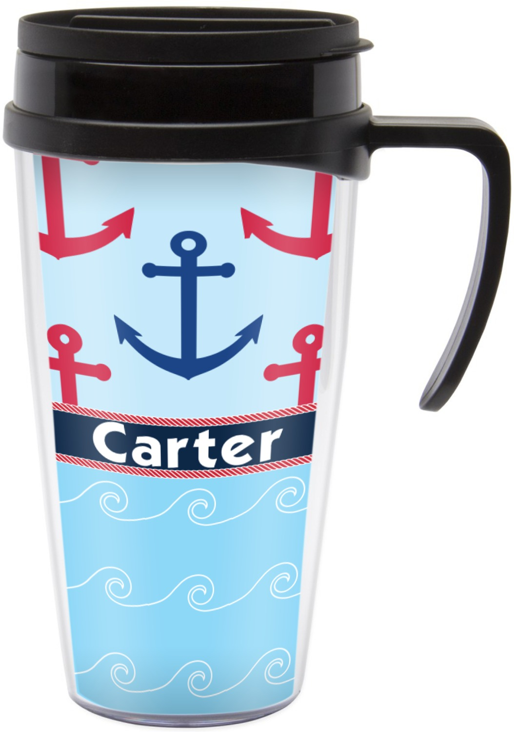 Anchors Waves Travel Mug With Handle Personalized Youcustomizeit