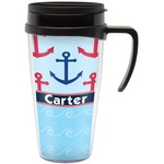 Anchors & Waves Travel Mug with Handle (Personalized)