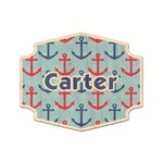 Anchors & Waves Genuine Maple or Cherry Wood Sticker (Personalized)