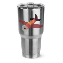 Airplane 30 oz Silver Stainless Steel Tumbler w/Full Color Graphics (Personalized)
