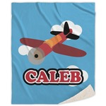 Airplane Sherpa Throw Blanket (Personalized)