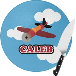 Airplane Round Glass Cutting Board - Small (Personalized)