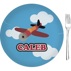 """Airplane Glass Appetizer / Dessert Plate 8"""" (Personalized)"""