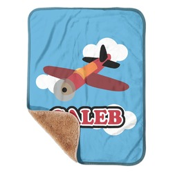 """Airplane Sherpa Baby Blanket 30"""" x 40"""" (Personalized)"""