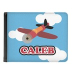 Airplane Genuine Leather Men's Bi-fold Wallet (Personalized)