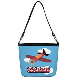 Airplane Bucket Bag w/ Genuine Leather Trim (Personalized)