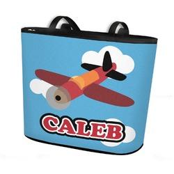 Airplane Bucket Tote w/ Genuine Leather Trim (Personalized)