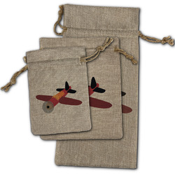 Airplane Burlap Gift Bags (Personalized)